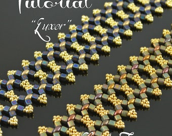 Luxor - superduo beading pattern, right angle weave bracelet tutorial, beaded bracelet pattern, beadweaving, cube seed beads / TUTORIAL ONLY