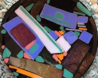"""HANDMADE Art Glass bowl """"Magicians Door"""" 7"""" diameter"""
