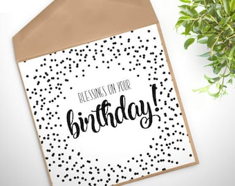 GC-140 PRINTABLE Greeting Card - digital file - DOWNLOAD - blessings on your birthday, Christian, celebration, gift, wrapping