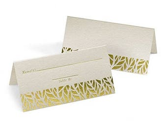 Gold Leaves Place Cards for Weddings (Pack of 25)