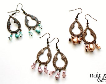 Boho Glam Dangle Earrings - Vintage brass, patina, Swarovksi crystals, Swarovski pearls, rose, opal, rose gold, Indian style