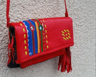 SALE Quirky Cross Body Bag with Vintage Karnataka Textile, Karnataka Bag, Leather Bag with Vintage Textile