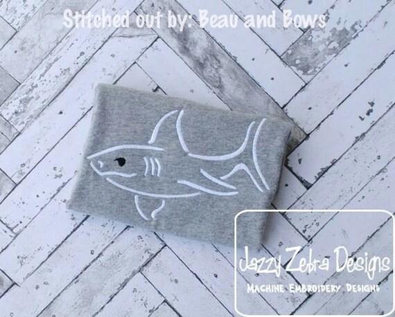 Shark Satin Stitch Embroidery Design - beach Embroidery Design - summer Embroidery Design - shark Embroidery Design