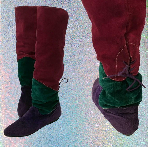 Vintage 80s Pink Green Purple Suede Knee Boots - Size 7 Flat Leather Elf Boots - Slouchy Pointy 1980s Womens Renaissance Colorblock Boot