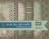 Vintage Ireland Digital Scrapbook Paper Pack, Celtic Knots, Celtic Cross, Irish Set of 6 12x12 St Patricks Day Plaid Tartan Grunge jpg files