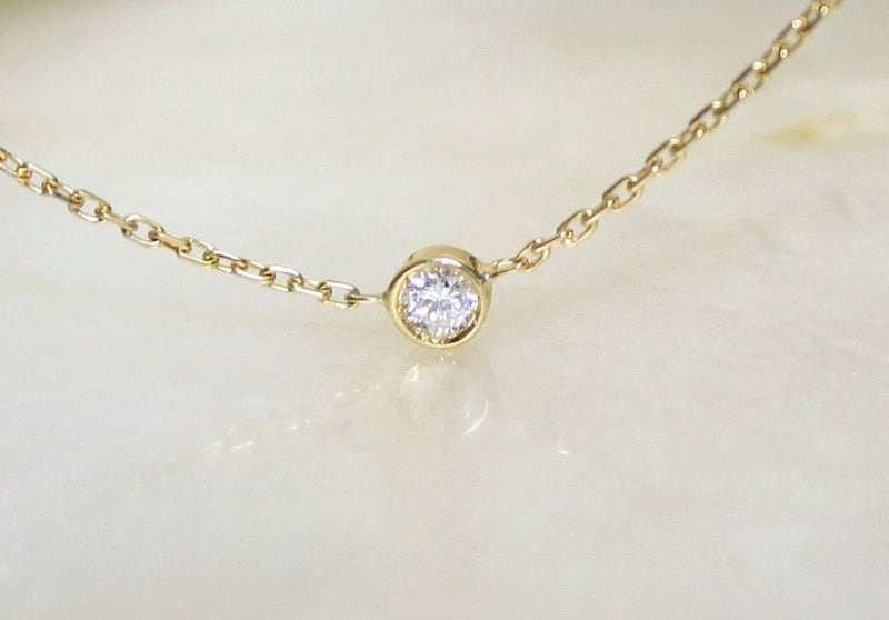 Solitaire diamond and 18k yellow gold necklace bezel set zoom aloadofball Choice Image