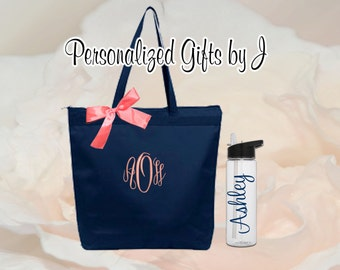8 Bridesmaid Gifts Tote and Water Bottle Set, Bridesmaids Gift, Zippered Wedding Tote and Water Bottle Set, Personalized Tote and Tumbler