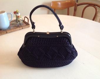 Beautiflul 1950s crochet handbag midnight blue granny