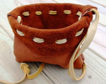 leather bag, leather pouches, elk leather bag, tribal bag, possibles bag, leather amulet bag, medicine bag, pendant leather bag, elk leather