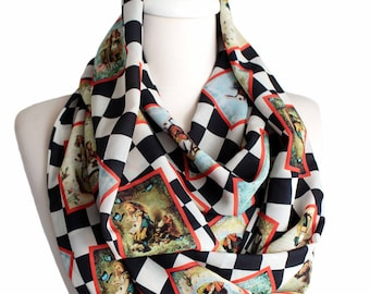 Alice In Wonderland Themed Infinity Scarf Checked Print Scarf Book Scarf Geek Gift For Her Girlfriend Gift Ideas Fashion book lover gift