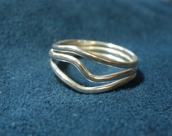 Tri-Band Bent Sterling Silver Ring