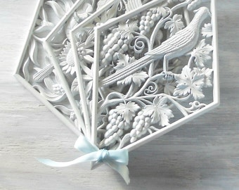 Vintage French Rococo White Nature Inspired Burwood Wall Hangings Set of 4 Diamond Shape Wall Panels
