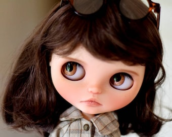 """9-10"""" BEAUTIFUL Short Brown doll WIG for Blythe and Neo Blythe Custom, American Girl"""