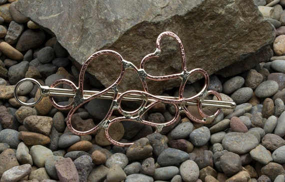 Heart & swirl copper hair accessory