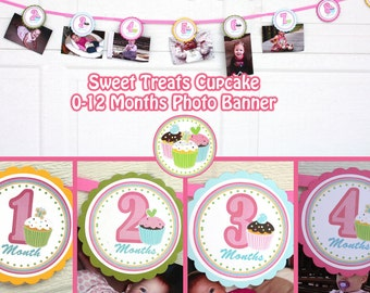 Cupcake Photo Banner Birthday Party Sweet Treats Cupcake Party 0-12 Months Photo Banner -  Girl 1st Birthday Picture Banner