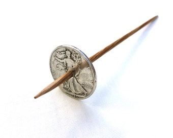 Silver Coin Tahkli Support Spindle Walking Lady Supported Spinning of Handspun Lace Yarn or Thread - like Russian or Tibetan or Takhli