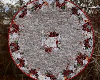 MarveLes CHRISTMAS Large Round Custom Quilted Table Topper Runner Red Poinsettia White Flower Silver Metallic
