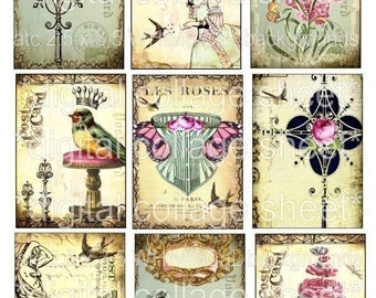 CRoWNeD BiRDs QueeN oRNaTe CRoSSeS SHaBBy PiNK RoSeS 9 atc antique postcards vintage paper original digital collage sheet altered art hang tags handmade greeting card making supplies hang tags scrapbooking