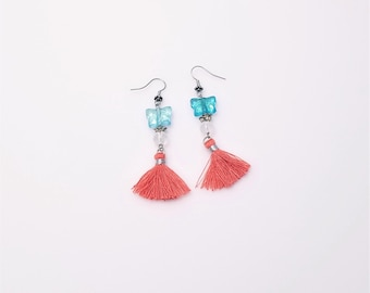 Melon Tassels and Irridescent Glass Butterflies with Silver Colored Roses and Quartz Beads Earrings