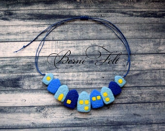 Blue Design Necklace Felt Necklace  Houses Necklace Wool Jewelry
