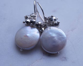 White Freshwater Coin Pearl and Silver Pyrite Earrings, Silver Jewelry, Artisan Jewelry, June Birthstone