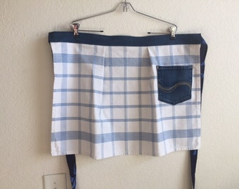 Apron - Half apron - Upcycled apron - Blue and white apron