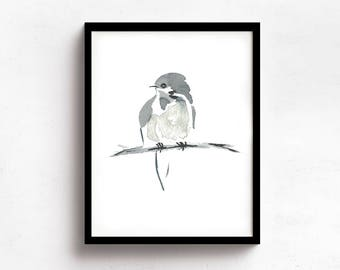 Little Bird Minimalist Print from My Original Watercolor, Black and White Bird Watercolor Print, Grey Neutral Tones, Neutral Gray Wall Art