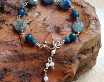 Blue bracelet - Blue stones-silver-bracelet- handmade-sterling silver - Labradorite  bracelet - ready-to-ship.