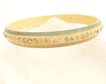 Art Deco Celluloid Cream and Sage Green with Clear Rhinestones Bangle Bracelet