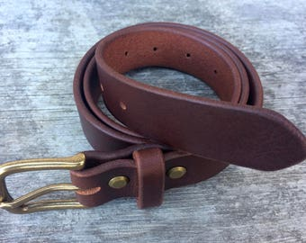 Brown leather belt, Solid brass buckle, Made in the USA, Brown belt, Mens belt, Womens belt, Skinny belt, Dress belt, Thin belt, Wide belt