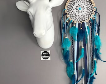 Dream catcher in crochet lace, teal, turquoise and Navy blue color