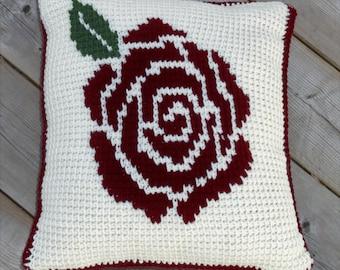 Rose Crochet Throw Pillow - Handmade