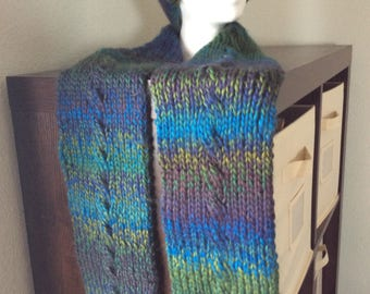 Hand Knitted Cabled Winter Hat & Scarf Set