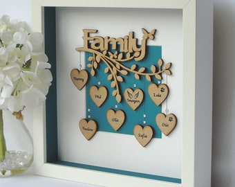 Family Tree Box Frame, Wooden Keepsake, Family Frame Personalised Family Tree, New Home Gift, Mother's Day, Mum Birthday Gift, Gifts for Her