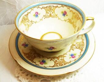 Zeh Scherzer Bavaria Germany US Zone Tea Cup & Saucer, Art Deco style