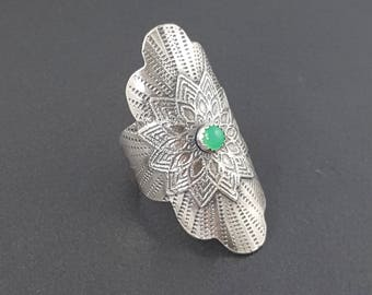 Chrysophrase Mandala Saddle Ring, Size 9 ring, sterling silver, chrysophrase ring, mandala, boho, bohemian ring, michele grady, saddle ring