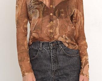 VINTAGE Brown See Through Long Sleeve Retro Leaf Shirt