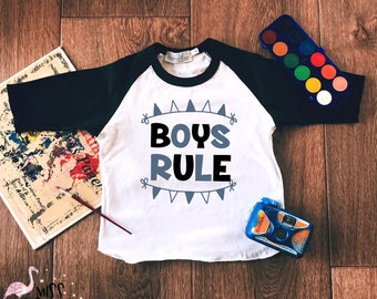 Boy Raglan Shirt, Boys Rule Top,Baby Boy Raglan Tee, Cool Boy Shirt,Boy Gifts, Toddler Boy Clothes,Toddler Boy Shirts,Childrens Raglan Shirt