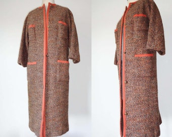 50s Brown BOUCLE Sweater/Jacket with ORANGE Piping! Small to Medium