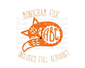 Monogram fox svg/png/dxf cricut/silhouette cutting file/fox svg/monogram svg/fox monogram/folk style fox/monogram alphabet svg/HTV fox/vinyl