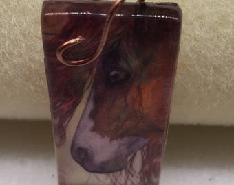 Ole Paint Glass Cabachon   Handforged Copper Vintaj Bale  Gift for Horse Lover  Pinto Pony   Mustang