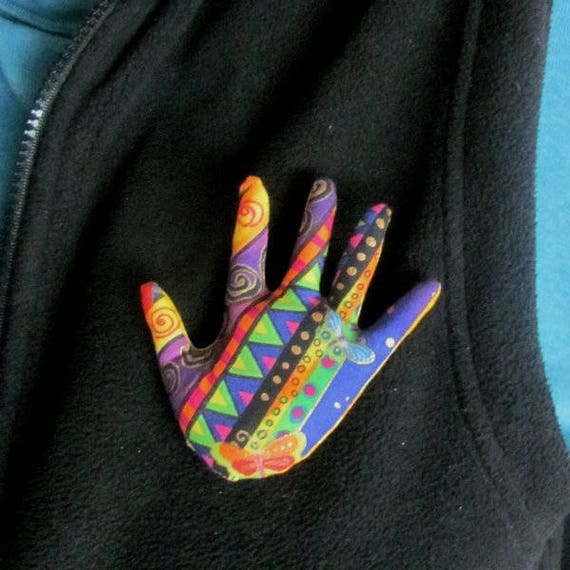 Laurel Burch Fabric Hand Brooch ~ Hamsa Pin ~ Ready to Ship
