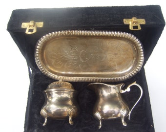Hand Made Silver Plated Sugar and Creamer Set in Velour Box