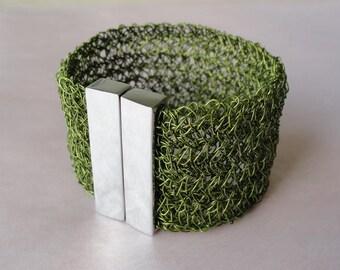 Wide bracelet crocheted wire bracelet olive green cuff wide cuff green bracelet green wire