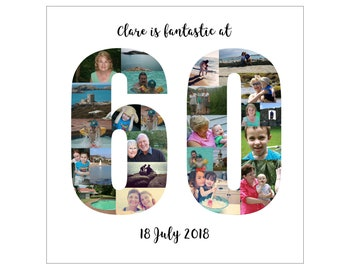 Personalised 60th Birthday Photo Collage Digital File