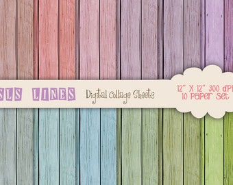 Wood Digital Paper with soft, shabby chic colors, natural wood texture, pink, blue and green, wood digital paper backgrounds