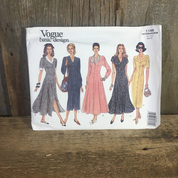 Vintage Vogue Basic Design Pattern 1149, uncut Vogue sewing pattern, Butterick pattern 1149, Vintage dress pattern, 19903 dress pattern