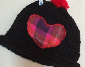 Cap infant baby girl's black crocheted beanie hat with pink plaid flannel heart & red pom pom One Size