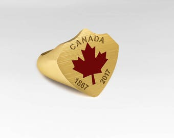 Canada-ring with red maple leaf and engraving, Meaple leaf, anniversary ring, yellow gold ring seal ring