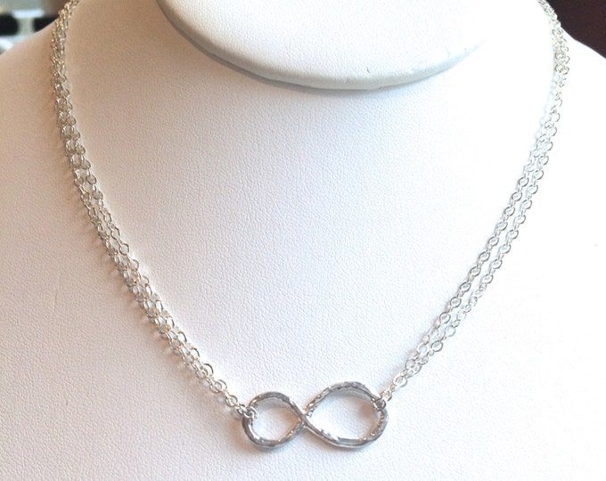 "Silver Infinity Necklace on Doubled Chain--16"" Length  Forever Necklace"